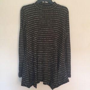 LOGO Lori Goldstein olive white striped sweater L